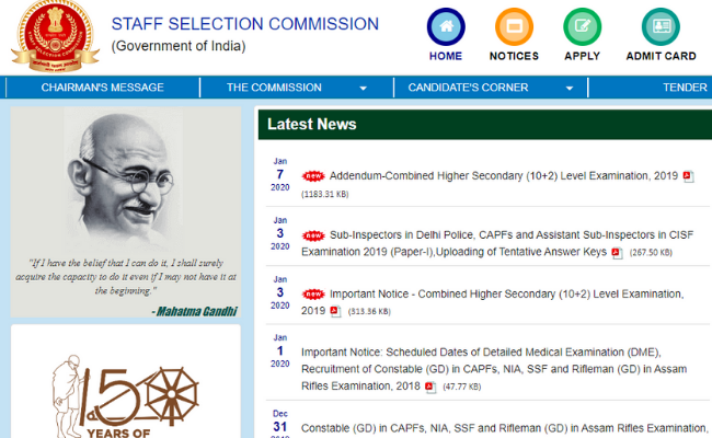 SSC Selection Post 8 2020 Notification